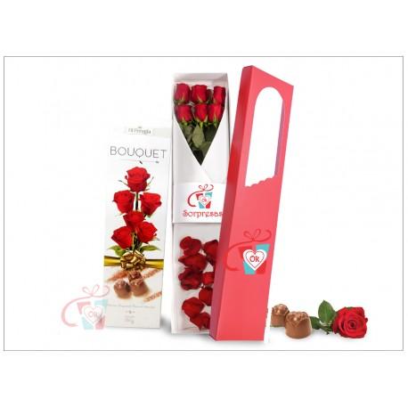 Caja de 6 rosas + Chocolate